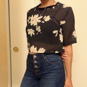flower printed sheer top